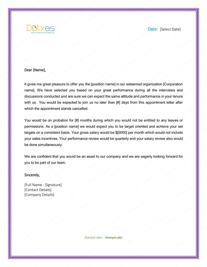 Sample Insurance Agent Appointment Letter | Letter Templates