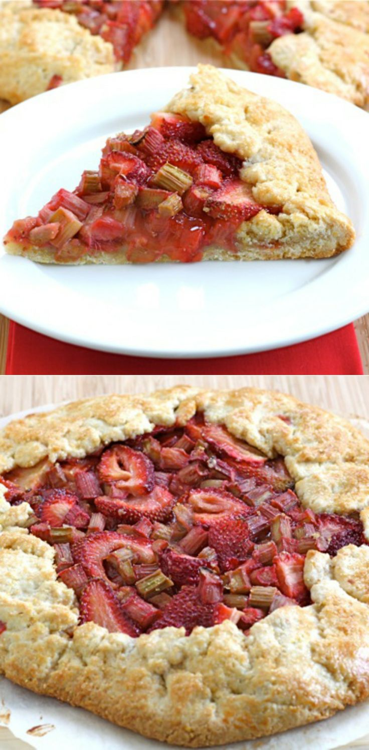 Strawberry Rhubarb Galette Recipe on twopeasandtheirpod.com. A great dessert for spring! And it's easy too!