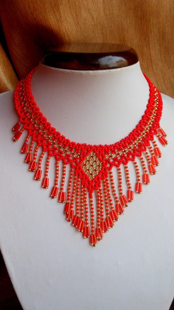 Beaded Necklace fringed made with Czech beads. Length of necklace 45 cm. Also used fastener that allows you to change the length. If you need a different size contact me. You can also order a different color.  If you have any questions email me. Thank you for visiting my shop