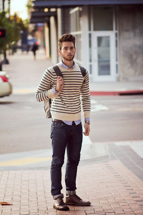 College-chic with striped sweater over a shirt and jeans with cuffs and shoes (important: not sneakers) to give you a casually polished look. Brownie points for well groomed hair on the head and face.
