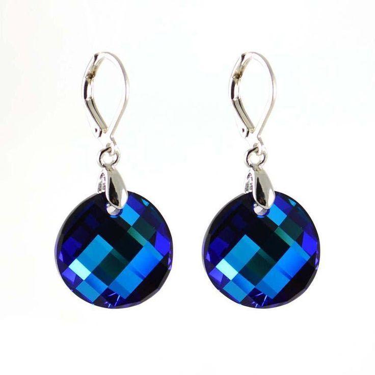 Náušnice Swarovski Elements Twist 713akt6621-18-30 - tmavě modré - Bijoux Me! - bižuterie, šály a šátky