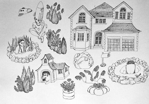 EÖ3. Without title, Emilie Östergren. Original artwork. Ink on paper. Size A3.   www.emelieostergren.se