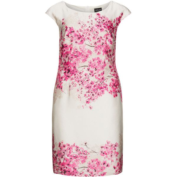 Hermann Lange Cream / Pink Plus Size Floral print pencil dress ($185) ❤ liked on Polyvore featuring dresses, cream, plus size, plus size pink dress, plus size cocktail dresses, plus size dresses, evening dresses and plus size holiday dresses