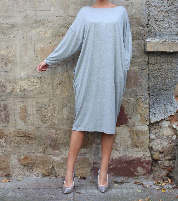 Grey Maxi dress Midi dress Plus size dress by cherryblossomsdress