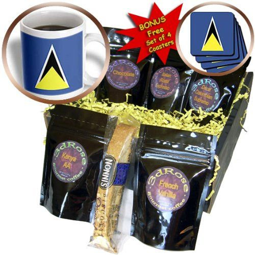 St Lucia Flag – Coffee Gift Basket
