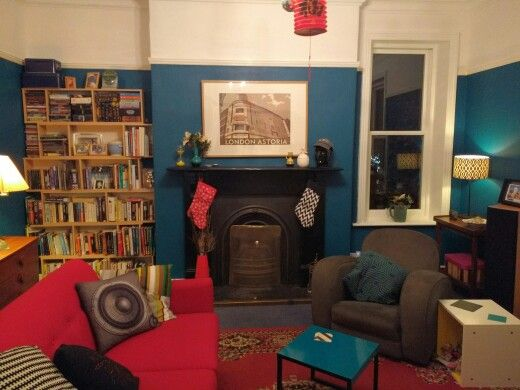 Our drawing room. Mustard replaced with Teal Tension (Dulux Once) walls and brilliant white ceiling down to the picture rails. Floor still to be replaced.