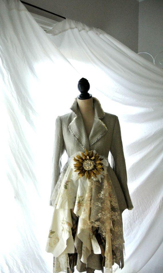 SALE Women's Coat, Romantic lagenlook, Handmade couture jacket, Victorian houndstooth coat, Steampunk, Boho chic, gypsy, True rebel clothing...