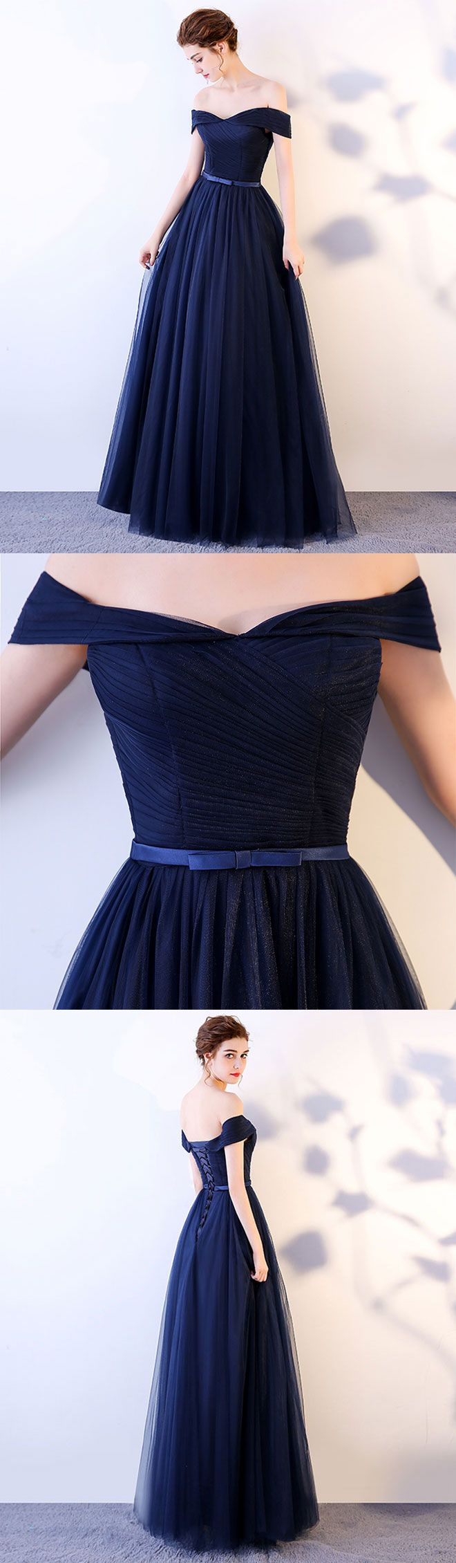 Dark blue long prom dress, blue tulle evening dress