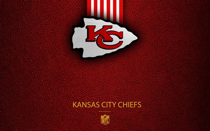 Download wallpapers Kansas City Chiefs, 4k, American football, logo, emblem, Kansas City, Missouri, USA, NFL, red leather texture, National Football League, Western Division