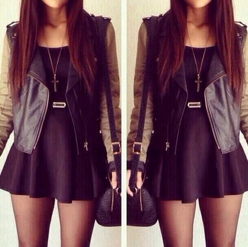 Leather jacket with black dress