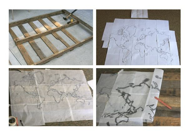 Duvara yapacağınız harita için ihtiyacınız olan malzemeler, eski bir ağaç palet, karbon kağıdı ve boya olacak. Paletin tahtalarını bir çerçeve yapıyoruz. Karbon kağıdına çizdiğimi