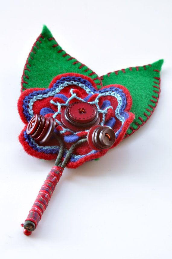 Felt Flower Buttonhole Corsage Two Leaves by CharlieLaurieDesigns, £10.00