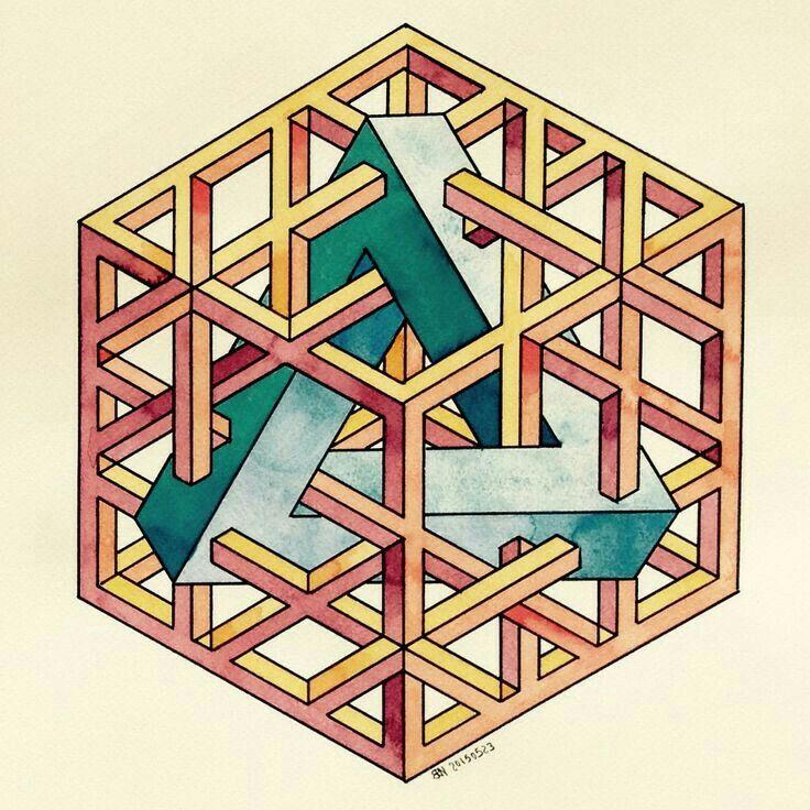 Fosterginger at pinterest art optical illusions for Geometric illusion art