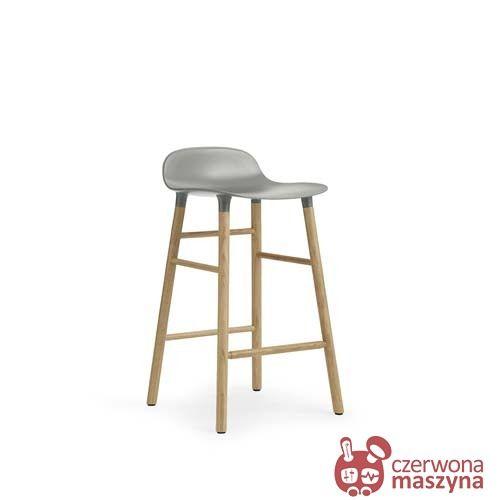 NISKI HOKER Krzesło barowe Normann Copenhagen Form 65 cm dąb, szare - CzerwonaMaszyna.pl