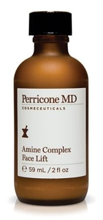 Perricone MD - Amine Complex Face Lift. Tighten up your skin and calm your mind with Perricone MD Amine Complex Face Lift. It safely lifts, tones, and tightens the skin, reducing fine lines and wrinkles and increasing elasticity. It leaves the skin glowing and leaves you free to concentrate on more important things than aging skin.