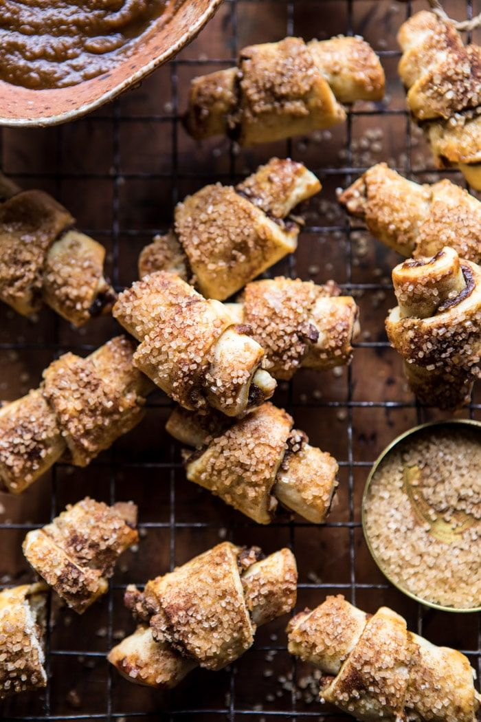 Pumpkin Butter Rugelach Cookies: buttery, flakey cookies with sweet cinnamon filled pumpkin butter, toasted pecans + sprinkled sugar! @halfbakedharvest.com