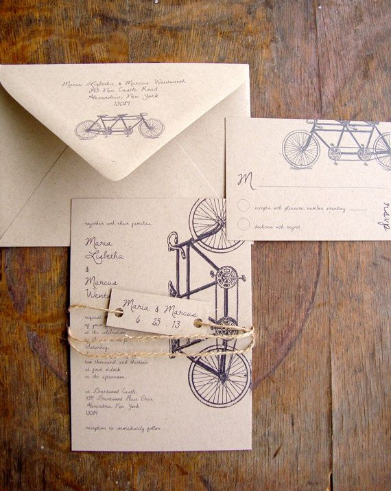 TANDEM BIKE rustic wedding invitations are eco friendly and printed on 100% recycled paper. -----> Samples of the TANDEM BIKE Wedding Invitation Suite are available here ----> https://www.etsy.com/listing/203605274 My invitations are unique because they are printed by me at home, and I take extreme care to make sure each piece is beautiful and perfect! My materials are all eco friendly, and my invitations are a la carte, meaning you can choose only the pieces you n...