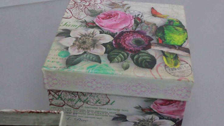 Набор подарочных коробок из 3шт  Квадрат Попугай Артикул 12975 3