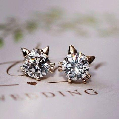 Cute Kitty Rhinestone Fashion Earrings   LilyFair Jewelry $12.99