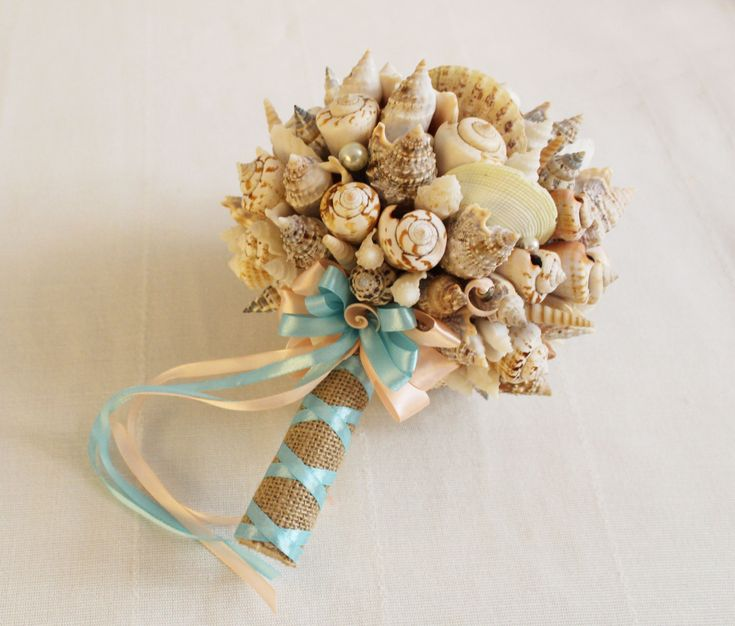 Sea Shell Bouquet Bridal Beach Wedding Handmade Nautical Coastal Seaside