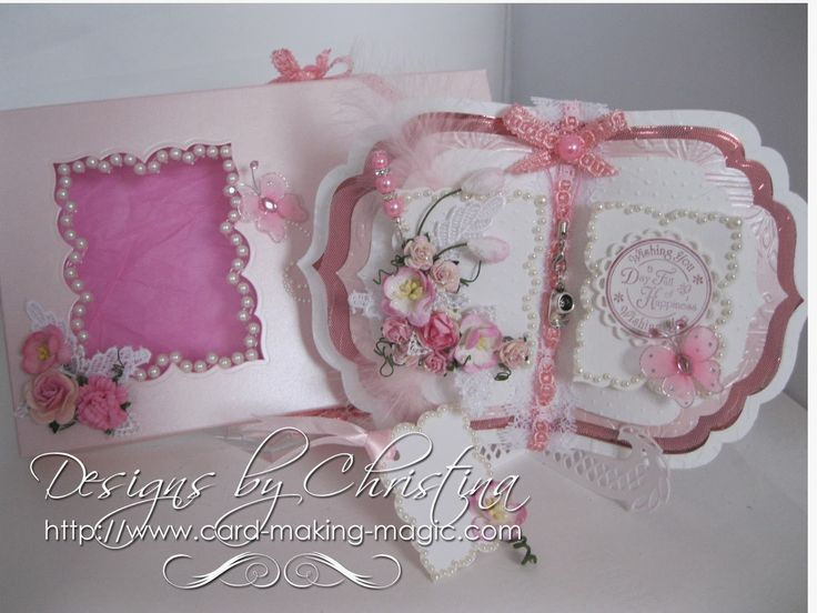 Beautiful Card Making Magic Ideas Part - 13: Flowers, Ribbons And Pearls: Book Card .