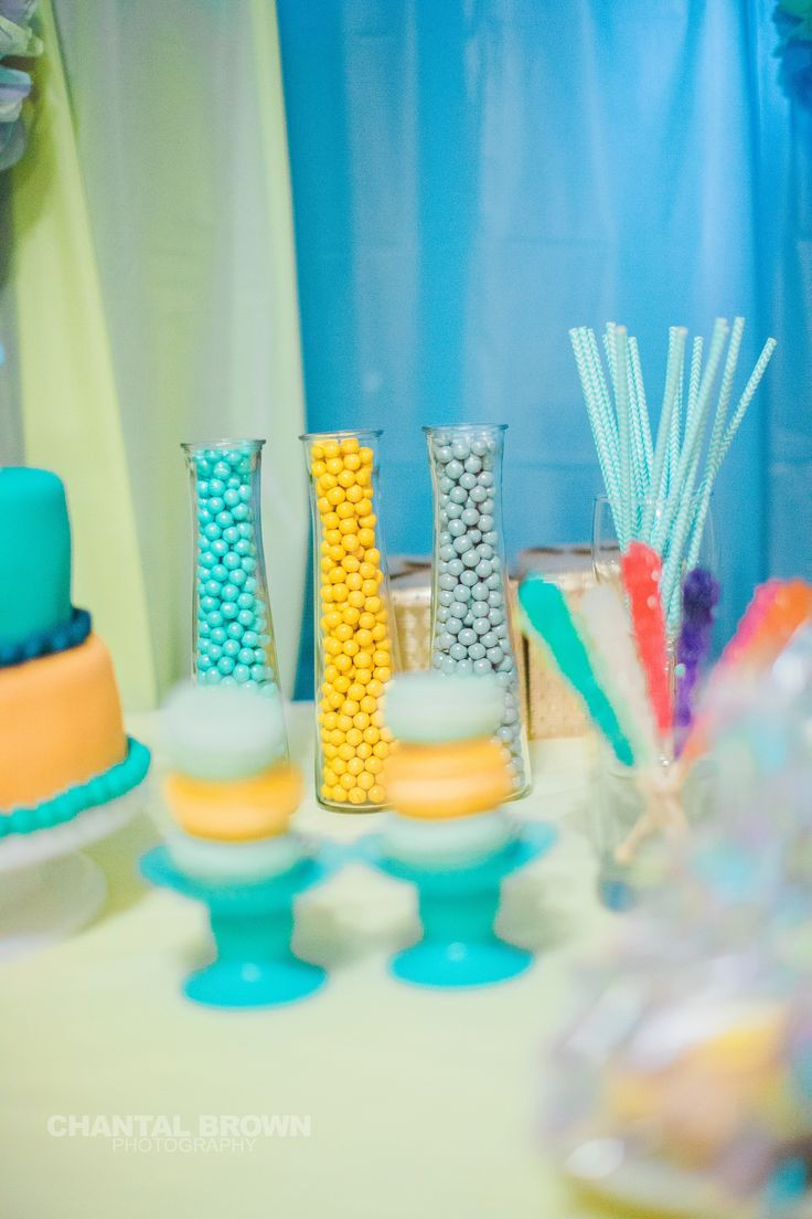 Color turquoise, yellow and grey small chocolate balls in the vase ideas for baby shower elephant theme ideas table set.  Photo by Chantal Brown Photography.