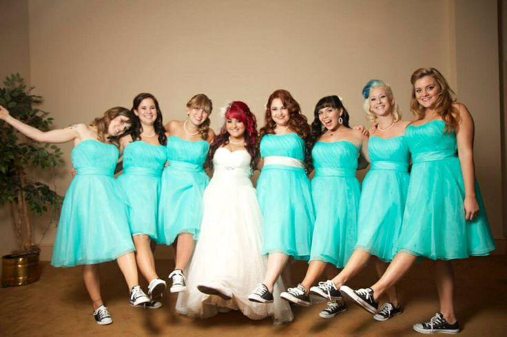 Bridesmaids in converse  #offbeatwedding #converse #fiftieswedding
