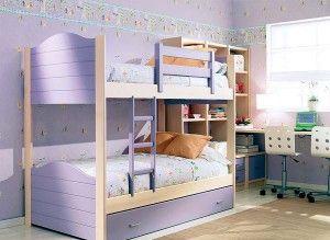 Как разделить детскую - двухъярусная кровать и общий стол