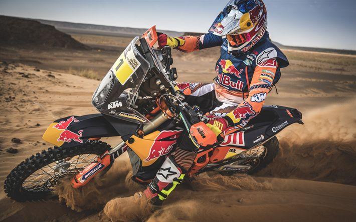 Download wallpapers KTM 450 Rally, rally raid bike, Dakar Rally, Motorbike, RedBull, Matthias Walkner