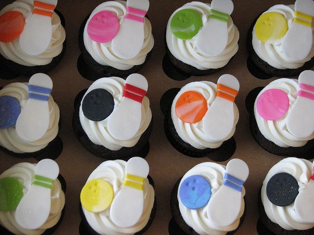 Bowling Themed Cupcakes by sugarcrushmiami, via Flickr