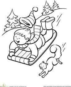 Winter Sledding Coloring Page Worksheet