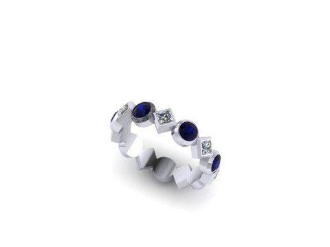 Custom Sapphire and Diamond Ring