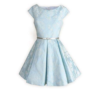 Tween Girls' Ice Blue Sateen Swing Dress