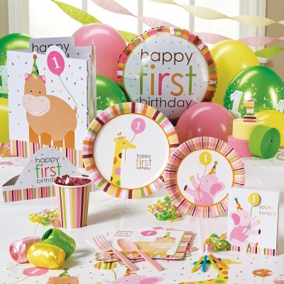 Sweet safari pink 1st birthday classic party pack for 8 for 1st birthday party decoration packs