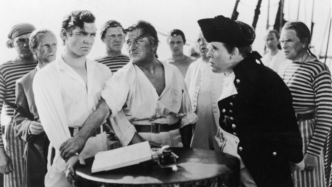 Review: 'Mutiny on the Bounty'  -  NOVEMBER 12, 1935 | 11:00PM PT  -   Technically, and going by precedents, this is no women's picture; but Clarke Gable and Franchot Tone are in the cast and the likelihood is that they'll atone for any weakness in that part of the business end. And with that one possible vulnerable point covered up, there's nothing to stand in the way of 'Mutiny' qualifying for box office dynamite rating.