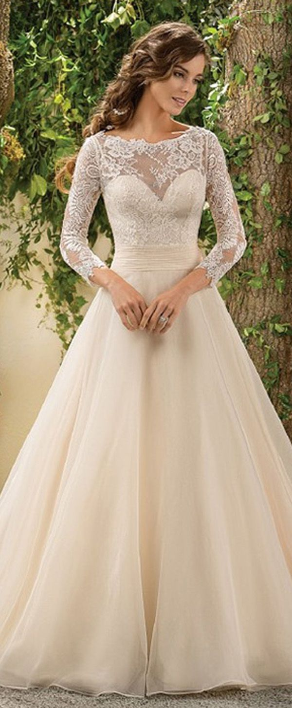Gorgeous Lace & Organza Scoop Neckline A-line Wedding Dress With Lace Appliques