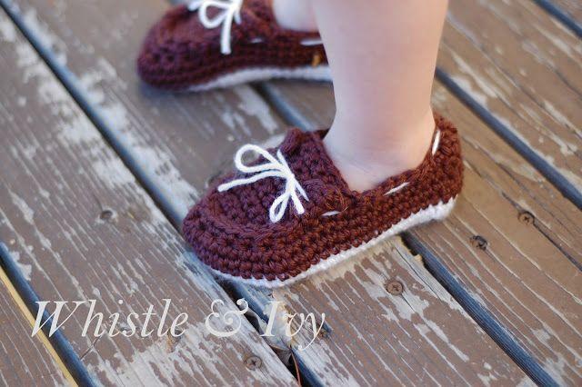 Toddler Boat Slippers Crochet Pattern via Hopeful Honey
