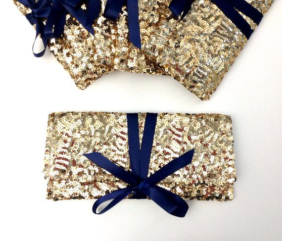 Bridesmaid clutches in gold sequins with navy bow// Six 6 Sparkle glitter envelope slim wedding bag // Custom colors on Etsy, $228.00