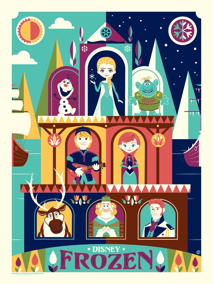 Greetings from Arendelle-Silkscreen editions-250 pieces http://darkinkart.com/disney/frozen-greetings-from-arendelle-dave-perillo.html