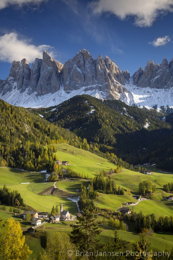 Autumn afternoon over Val di Funes, Dolomites, Trentino-Alto-Adige, Italy. © Brian Jannsen Photography