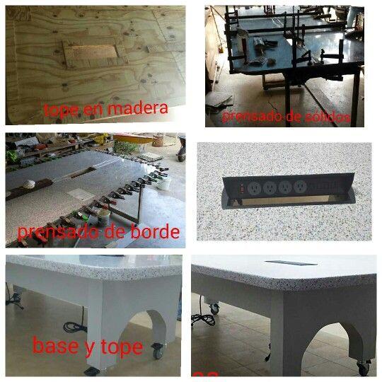Construccion de mesa en madera forrada en Pvc y formica con tope en superficie solida
