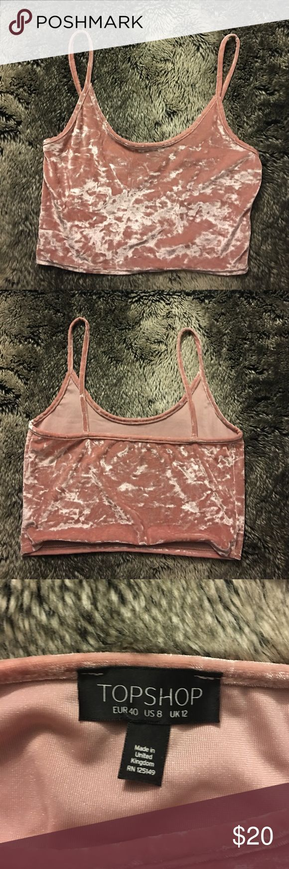 Topshop crushed pink velvet crop top new w/o tags | size US 8 | 🌸 Topshop Tops Crop Tops