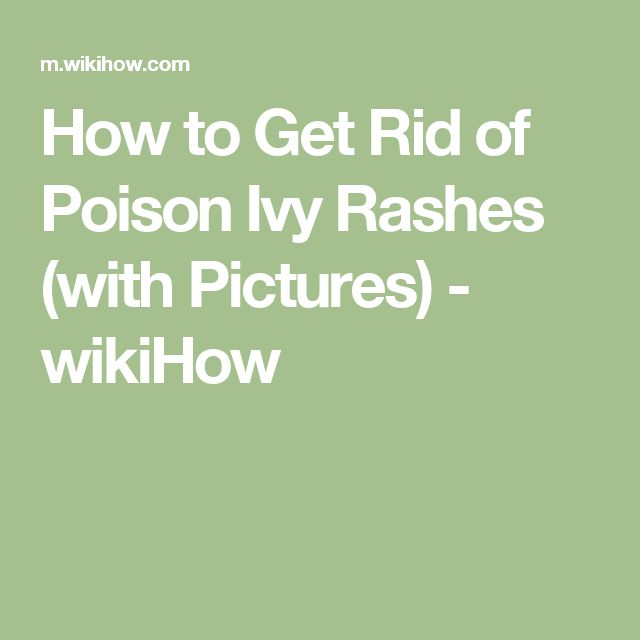 How to Get Rid of Poison Ivy Rashes (with Pictures) - wikiHow
