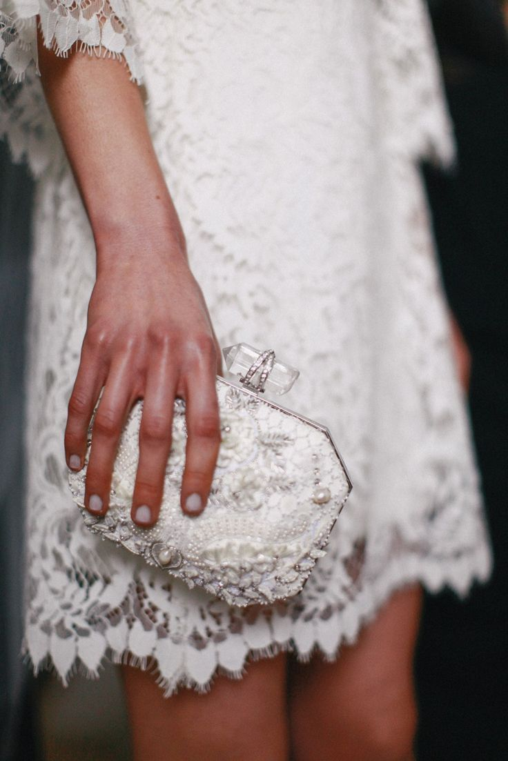 Embellished Clutches / Backstage at Marchesa Bridal Spring 2015. / Photo: The LANE www.thelane.com