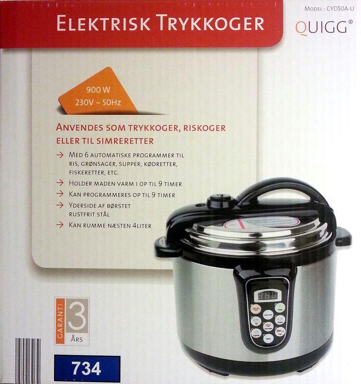 Elektrisk trykkoger 900 watt med programmer for Ris, grøntsager, fisk, kød, fjerkræ med mere. Købt i Aldi #trykkoger