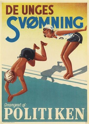 Plakat, De Unges svømning 1936