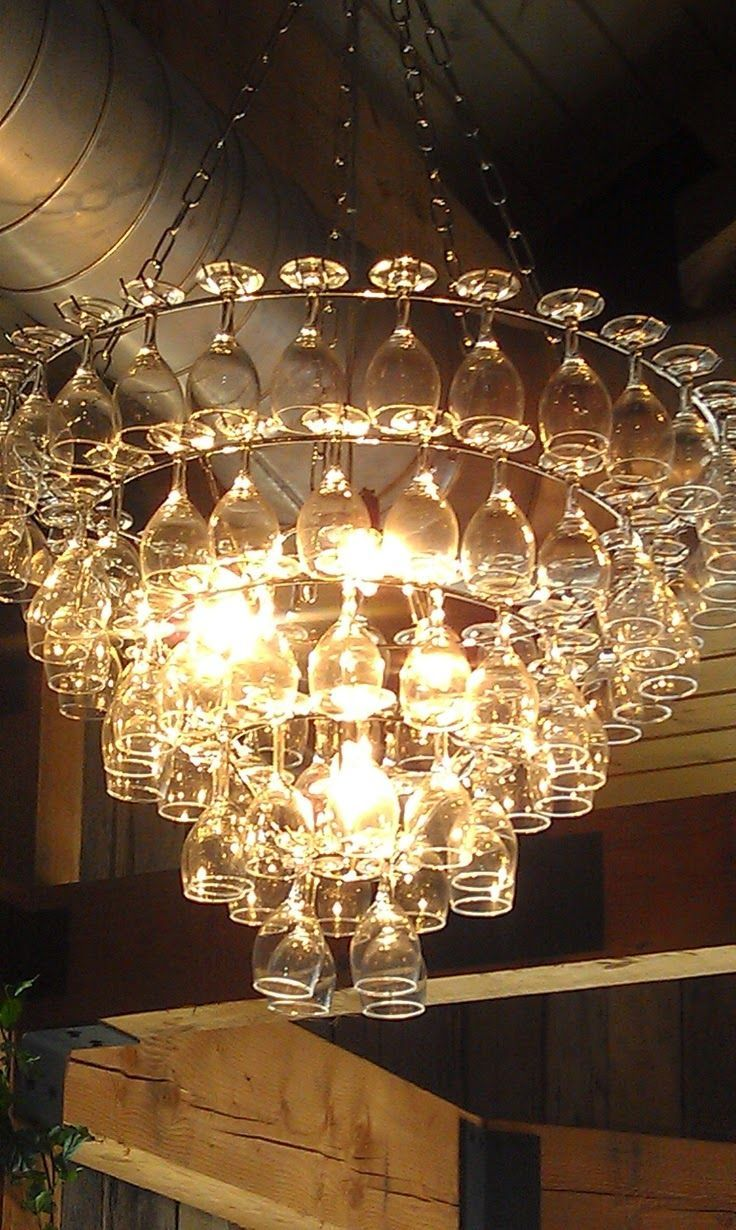 7 best stairwell lighting images on pinterest crystal love this ideas but it looks like a bit to much dusting for my liking the art of up cycling wine glass chandeliers funky cool wine glass chandelier arubaitofo Choice Image