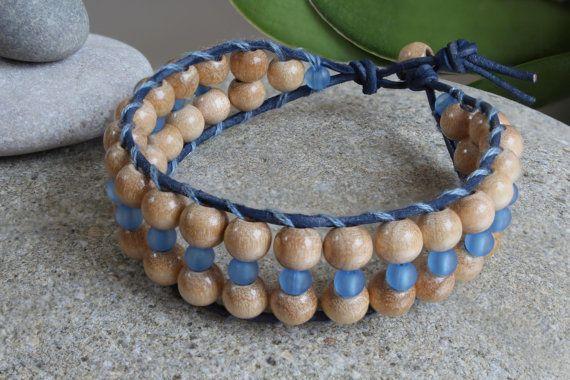 Wooden Beaded Bracelet for Women Leather by MoniqueUniquely
