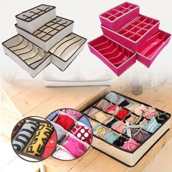 Lovely 4PCs Ties Socks Shorts Bra Underwear Storage Box Drawer Divider Closet Home  Organizer Set