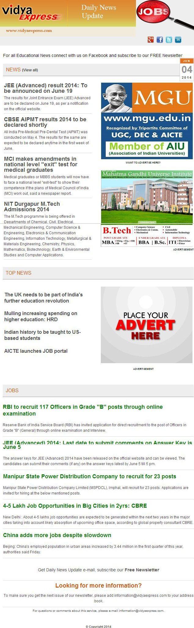 "#EducationNews@VidyaExpress-""CBSE AIPMT results 2014 to be declared shortly"" For more information visit online: http://www.vidyaexpress.com/newsletter/newsletter46/newslttr46.php"